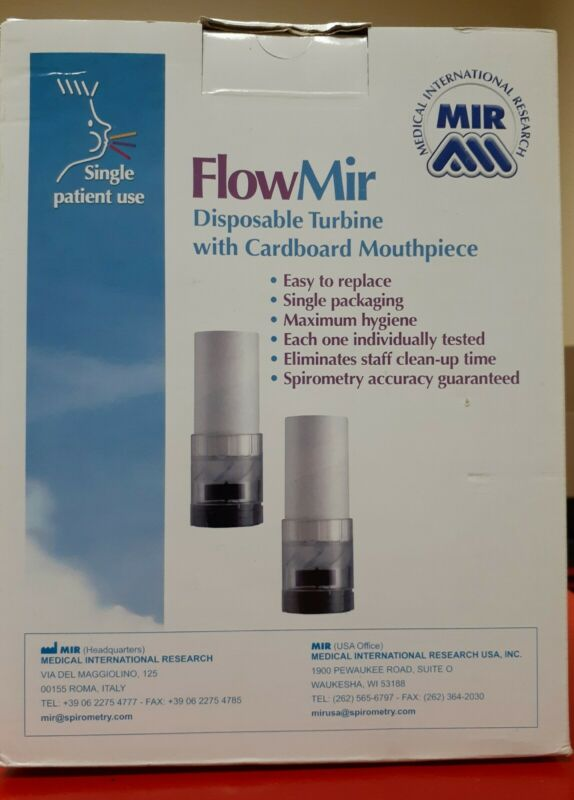 Spirometry FlowMir Disposable Turbine With Mouthpiece 910004 Nos Box 50 Pieces
