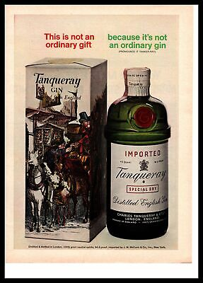 1966 Tanqueray Special Dry Gin Gift Wrapped Box Christmas Present Print Ad