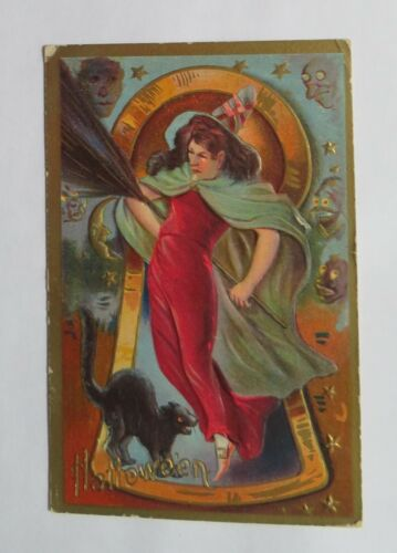VTG Halloween Postcard Witch, Broom & Scary Black Cat In A Key Hole