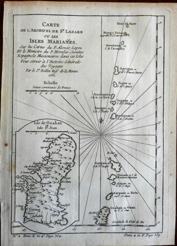 Mariana Islands Guam Saipan Tinian Rota Spanish East Indies 1760 Bellin map