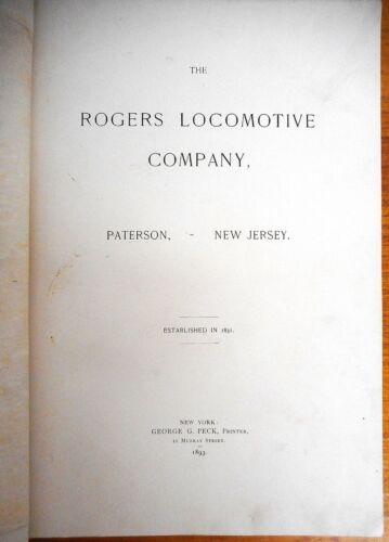 "Antique ""Rogers Locomotive Company"" Catalog Dated 1893"