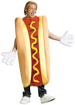 Adult Hot Dog Costume Hotdog Halloween Food Funny Fancy Dress Unisex Womens Mens