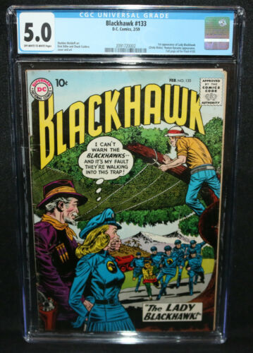 Blackhawk #133 - 1st App of Lady Blackhawk - CGC Grade 5.0 - 1959