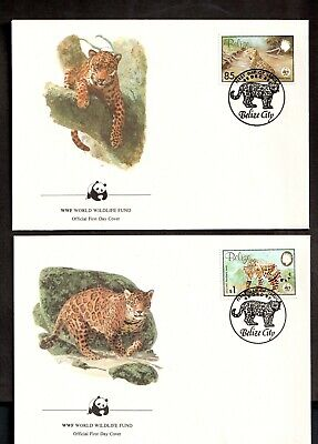 1983 BELIZE -  WORLD WILDLIFE FUND - JAGUARS 4 X FIRST DAY COVERS