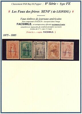 U.S.A. 1875 - 1885, 5 DIFF. SENF BROTHERS FORGERIES NEWSPAPERS REVENUES. #M53