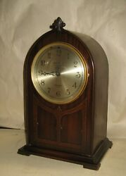 HERSCHEDE CINCINNATI ARCH TOP WESTMINSTER CHIME ELECTRIC MANTEL CLOCK AS-FOUND