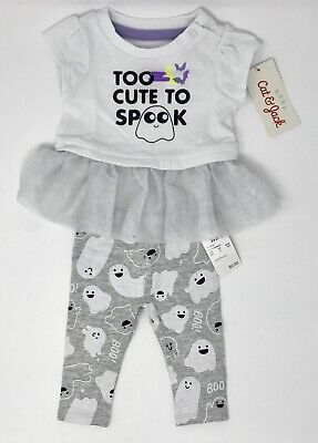 Newborn Cat Halloween Costumes (Halloween Baby Cat & Jack Too Cute To Spook Shirt & Pant Outfit Size)