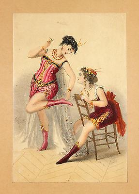 Tänzerinnen Can Can Variete ORIGINAL Lithografie um 1900  Mode Fashion Dessous