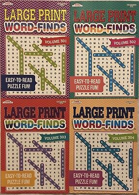 New 4 Large Print Word-Finds Puzzle Books Kappa Games Hobby Search FREE Shipping