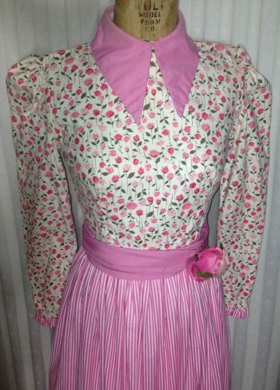 60s NETTIE VOGUES Maxi Granny Hippie Couture Cotton Dress 32-24-36 Sash Corsage