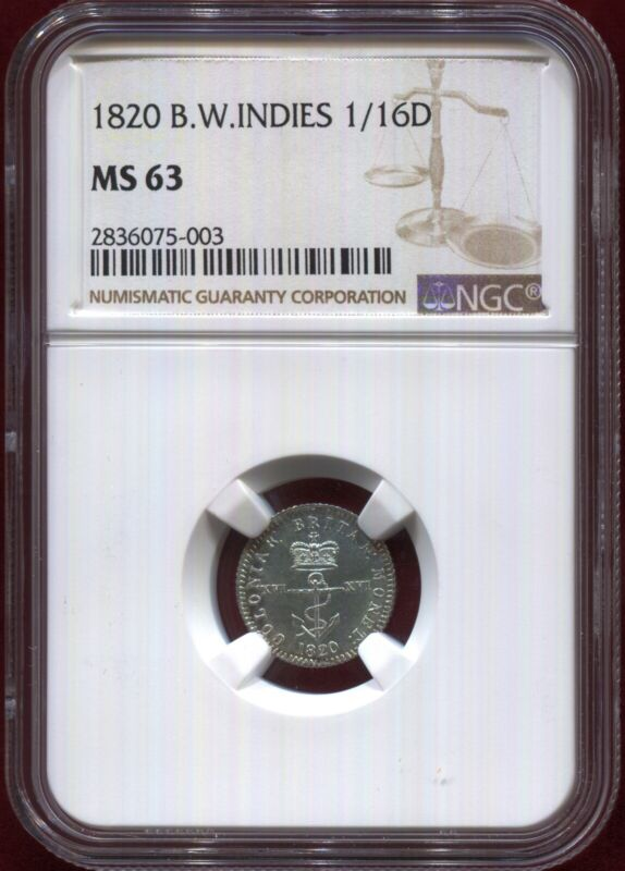 British West Indies - 1820 1/16th Dollar in NGC MS 63