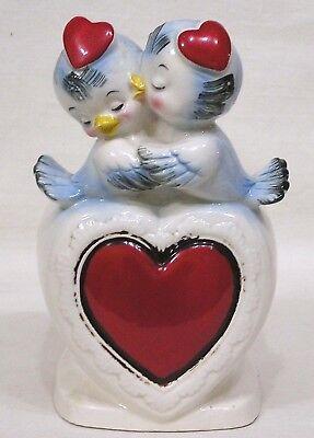 Vtg Relpo Valentine Day Planter Two Bluebirds w Heart Hats #6284
