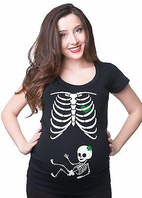 Pregnancy T-shirt  Skeleton Girl Clover  Maternity X-ray St Patrick's Day Top](Skeleton Pregnancy Top)