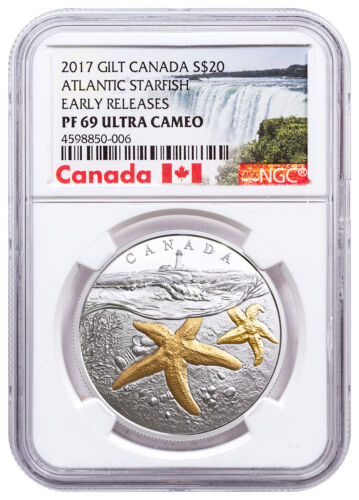 2017 Canada Sea Atlantic Starfish 1 oz Silver Gilt $20 NGC PF69 UC ER SKU49408