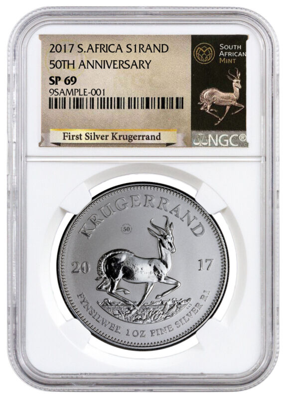2017 South Africa 1 oz. Silver Krugerrand Premium NGC SP69 Excl Label) SKU46159