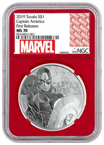 2019 Tuvalu Captain America 1 oz Silver Marvel NGC MS70 FR Red Core SKU56989