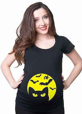 Pregnancy Halloween T-shirt Funny Halloween Cat Moon Halloween Costume T-shirt  - Pregnancy Halloween Costumes