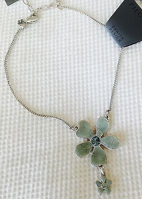 Pilgrim Anklet Chain Swarovski Crystal Silver Plated Pale Green NWT Price $10.50