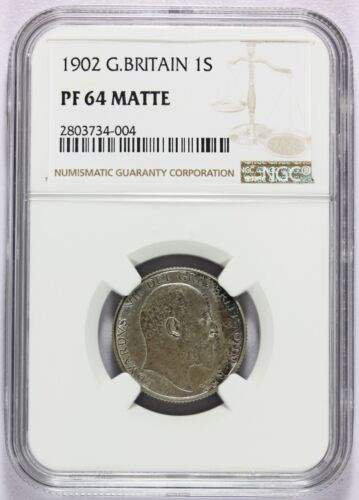 1902 Great Britain Silver 1 One Shilling PROOF Coin -  NGC PF 64 MATTE - KM# 800