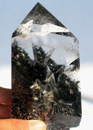 555g 1.22lb NATURAL PRETTY GHOST QUARTZ & Mica QUARTZ CRYSTAL POINT HEALING