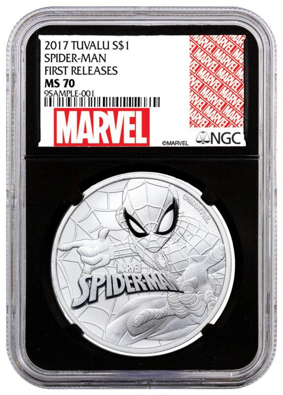 2017 Tuvalu Marvel Spider-Man 1 oz Silver $1 NGC MS70 FR Black SKU48165