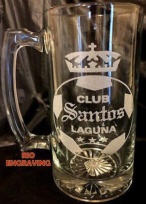 Laser Engraved Beer - SANTOS LAGUNA tarro sport Beer Mug 26.5 oz Personalized Laser Engraved FUTBOL
