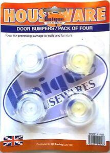 4 X SELF ADHESIVE  WALL PROTECTORS DOOR HANDLE BUMPER GUARD STOPPER RUBBER STOP