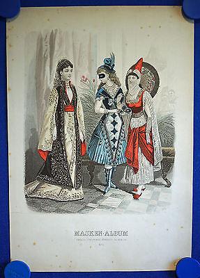 MASKEN - ALBUM Nr. 9 - sehr schön kolorierter Original-Stahlstich um 1880!