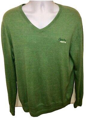 SUPERDRY Cotton/Cashmere Blend Green V-Neck Knit Sweater Size XL