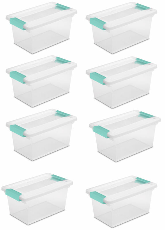 New Sterilite Medium Clip Box Clear Storage Tote Container with Lid (8 Pack)