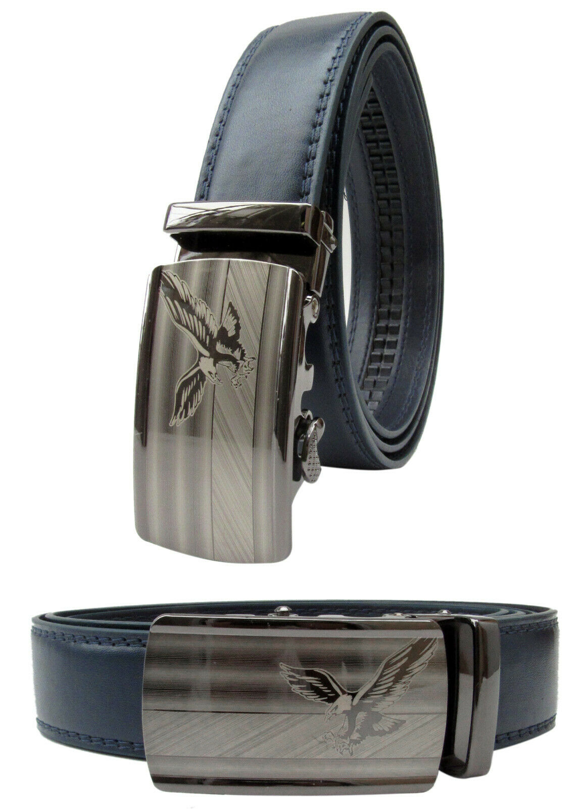 Men Navy Blue Leather Automatic Ratchet Click Lock Belt Chrome Eagle Buckle Belts