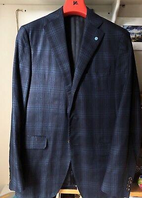 2499 Eidos Men Blue Slim Suit Jacket Silk Sport Coat Blazer Italy Us 40 Eu 50