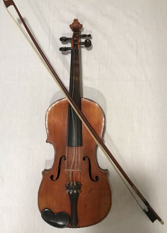 Antique Violin 19th Century European Made with Bow & Case - Good Condition