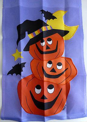 """Large Applique 3 Pumpkins and Bats Fall Porch Art flag (28"""" x 40"""")"""