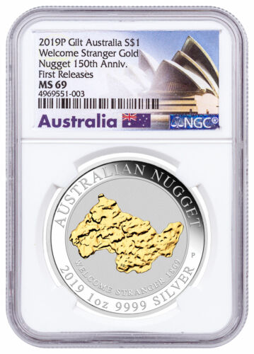 2019P Australia 1 oz Silver Gilt Nugget Welcome Stranger $1 NGC MS69 FR SKU58587