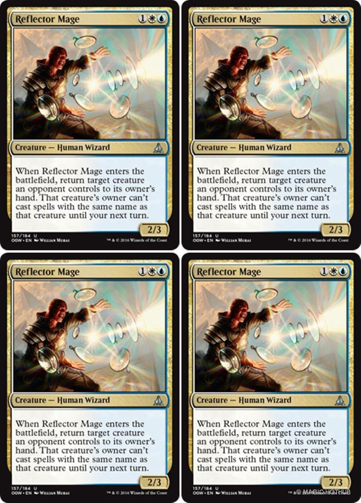 4 x REFLECTOR MAGE NM mtg Oath of the Gatewatch Gold Human Wizard Unc