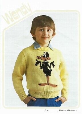 Daffy duck sweater knitting pattern for child in DK. 6 sizes, infant baby jumper