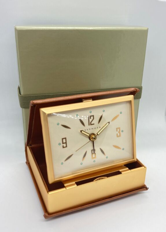 Levenger Travel Alarm Clock Book Of Time Leather EUC