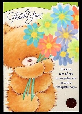 Thank You Teddy Bear Bouquet Of Flowers LARGE -  Thank You Greeting Card NEW](Large Thank You Cards)