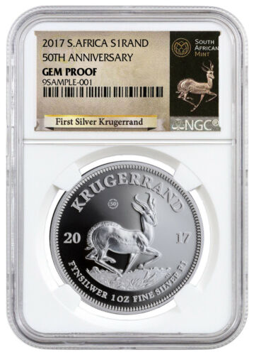 2017 South Africa 1 oz. Silver Krugerrand NGC GEM Proof (Excl Label) SKU47955