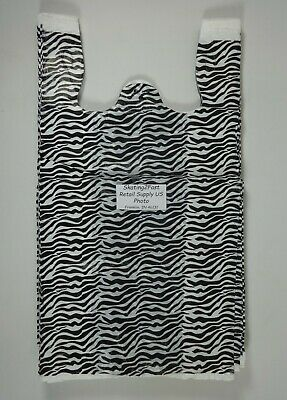 1000 Qty. Zebra Print Design Grocery Plastic T-shirt Bags With Handles