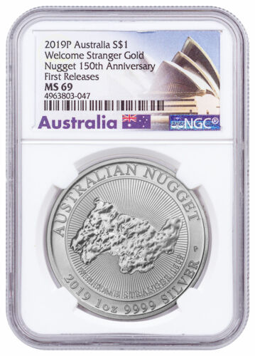 2019 P Australia 1 oz Silver Welcome Stranger Nugget $1 NGC MS69 FR