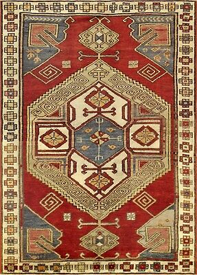 Pasargad Vintage Kazak Collection Hand-Knotted Lamb's Wool Rug- 4' 1
