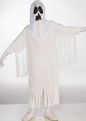 Kids Unisex Ghost Costume White Ghoul Childrens Child Girls Boys S M L NEW (Ghost Kid Costume)