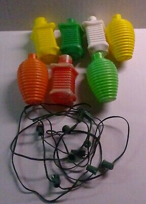 (7) Vintage Blow Mold Plastic Shapes Patio RV Camping Party Lights Lot