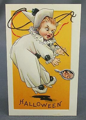 Antique Halloween Postcard Clown White Costume Frightened Witch in Hand - Antique Halloween Costumes