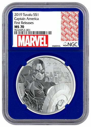 2019 Tuvalu Captain America 1 oz Silver Marvel NGC MS70 FR Blue SKU56988