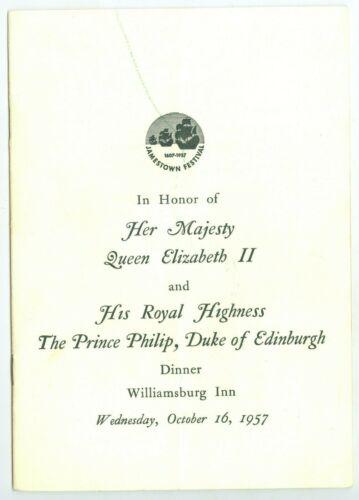 October 16, 1957 Queen Elizabeth & Prince Philip, Dinner, Williamsburg, Va Progr