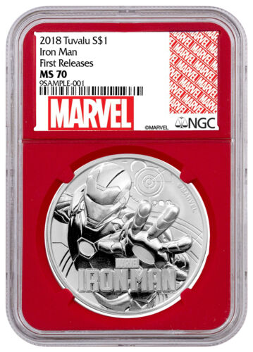 2018 Tuvalu Iron Man 1 oz Silver Marvel Srs $1 NGC MS70 FR Red Core SKU53474