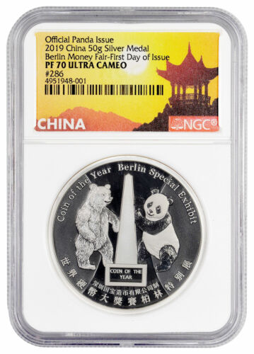 2019 China Berlin Money Fair Panda 50 g Silver Medal NGC PF70 UC FDI SKU56848